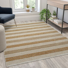 5' x 7' Handwoven Striped Jute Blend Area Rug in Natural Tones