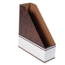 Bankers Box® Corrugated Cardboard Magazine File - 4 x 11 x 12 3/4 - Wood Grain - 12/Carton