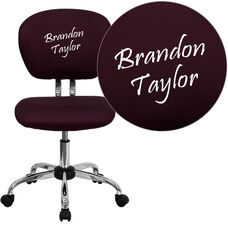 Embroidered Mid-Back Burgundy Mesh Padded Swivel Task Office Chair with Chrome Base