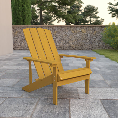 Charlestown All-Weather Poly Resin Wood Adirondack Chair in Yellow