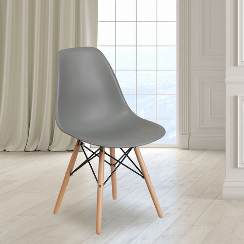 Our Elon Series Moss Gray Plastic Chair with Wooden Legs is on sale now.