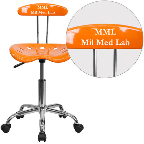 Our Personalized Vibrant Orange and Chrome Swivel Task Office Chair with Tractor Seat is on sale now.