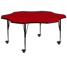 Mobile 60'' Flower Red Thermal Laminate Activity Table - Height Adjustable Short Legs