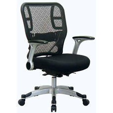 Space Deluxe R2 SpaceGrid® Back Task Chair with Mesh Seat and Flip Arms - Black