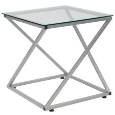 Park Avenue Collection Glass End Table with Contemporary Steel Design