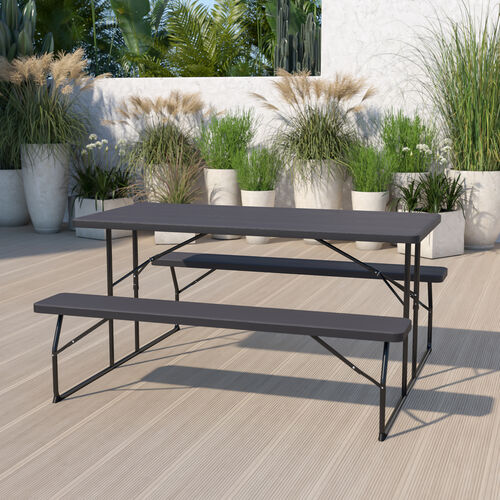 Insta-Fold Wood Grain Folding Picnic Table and Benches - 4.5 Foot Folding Table