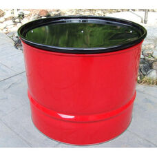 Red Steel Drum Table with Black Top