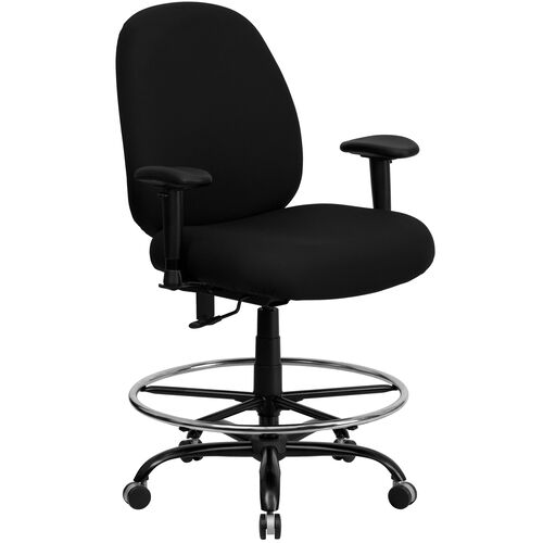 Our HERCULES Series Big & Tall 400 lb. Rated Black Fabric Ergonomic Drafting Chair with Adjustable Back Height and Arms is on sale now.