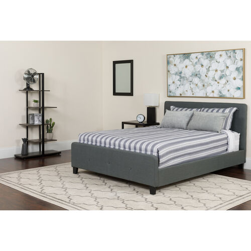 Our Tribeca Queen Size Tufted Upholstered Platform Bed in Dark Gray Fabric with Pocket Spring Mattress is on sale now.