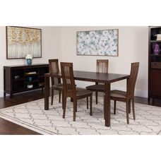 Eastcoate 5 Piece Espresso Wood Dining Table Set with Framed Rail Back Design Wood Dining Chairs - Padded Seats