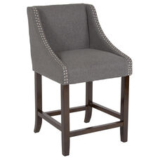"Carmel Series 24"" High Transitional Walnut Counter Height Stool with Accent Nail Trim in Dark Gray Fabric"