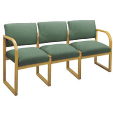 Contour Series Open Back 3 Seat Sofa with Sled Base