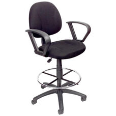 Contoured Back Drafting Stool with Foot Ring and Loop Arms - Black