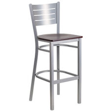 Silver Slat Back Metal Restaurant Barstool with Mahogany Wood Seat