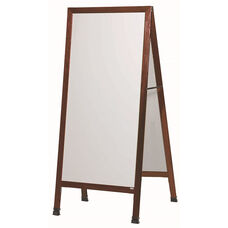 Extra Large A-Frame Sidewalk Board with White Porcelain Marker Board and Cherry Stain Finished Solid Red Oak Frame - 30