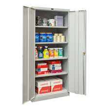 800 Series Antimicrobial One Wide Single Tier Double Door Storage Cabinet - Assembled - Platinum - 36