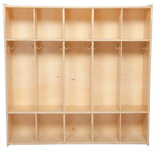 Children's 5-Section Baltic Birch Plywood Storage Locker with Two Single Coat Hooks in Each Section - 46.75''W x 12''D x 46.75''H