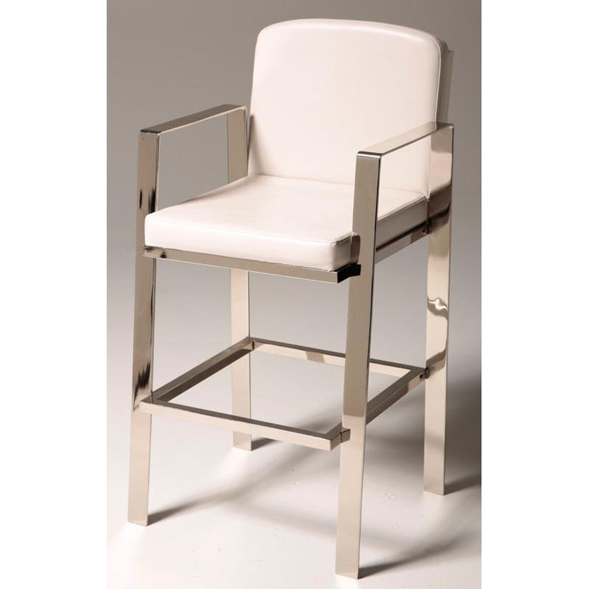 Our Juneau 30 H Bar Stool With White Faux Leather Seat And Back
