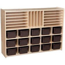 Contender Multi-Storage Unit with 15 Brown Plastic Trays - Assembled - 46.75