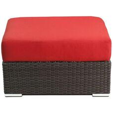 Crystal Beach Collection Outdoor Wicker Ottoman with Sunbrella Cushion - Indo