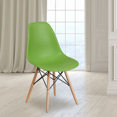 Elon Series Green Plastic Chair with Wooden Legs