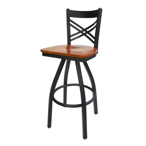 Our Akrin Metal Cross Back Swivel Barstool - Cherry Wood Seat is on sale now.