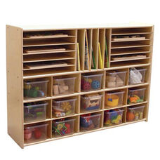 Multi-Shaped Baltic Birch Plywood Storage Unit with 15 Clear Cubbie Trays - Assembled - 46.75