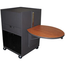 Zapf® Office Support Media Center Cart with Acrylic Door - Dark Neutral Finish with Cherry Laminate