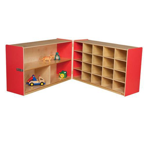 Half & Half Red Storage Shelf Unit with Rolling Casters and Twenty Cubbies - 48-96