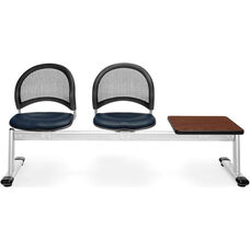 Moon 3-Beam Seating with 2 Navy Vinyl Seats and 1 Table - Cherry Finish