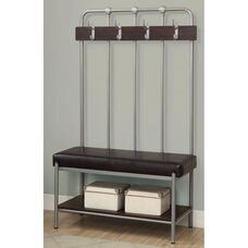 Metal Entry Bench with Four Double Coat Hooks - Silver