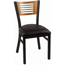 Jones River Series Wood Back Armless Chair with Steel Frame and Vinyl Seat - Natural