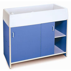 EZ Clean Infant Care Changing Cabinet with Paper Roll and Storage in Blue