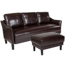 Asti Upholstered Sofa and Ottoman in Brown Leather