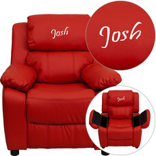 Personalized Deluxe Padded Red Vinyl Kids Recliner with Storage Arms