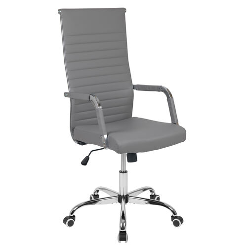 Our High Back Gray LeatherSoft Mid-Century Modern Ribbed Swivel Office Chair with Spring-Tilt Control and Arm Wraps is on sale now.
