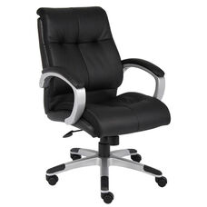 Double Plush Mid Back Executive Chair with Padded Arms - Black