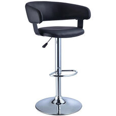 Barrel Seat Barstool - Black Faux Leather with Chrome Finish