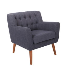 Ave Six Mill Lane Chair in Navy Fabric with Coffee Legs