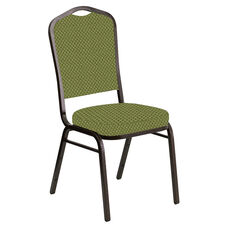 Embroidered Crown Back Banquet Chair in Canterbury Olive Fabric - Gold Vein Frame