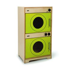 Kids Contemporary Play Washer and Dryer in Green Birch Plywood