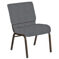 21''W Church Chair in Cirque Smoke Fabric - Gold Vein Frame