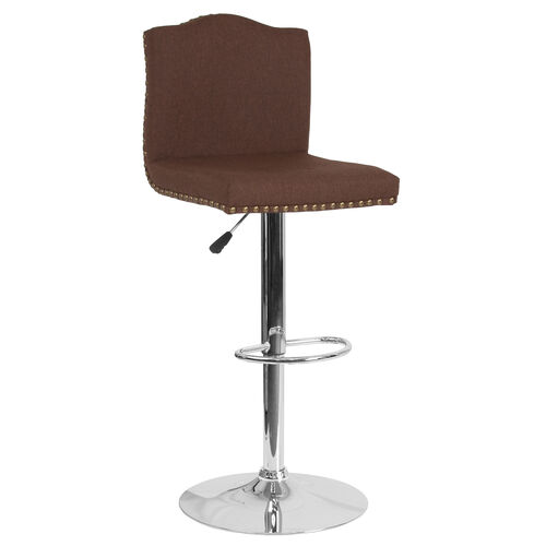 Our Bellagio Contemporary Adjustable Height Barstool with Accent Nail Trim in Brown Fabric is on sale now.