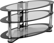 Westchester Two-Tone Glass TV Stand with Shelves and Chrome Tubing