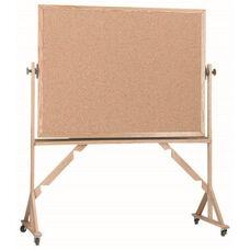 Reversible Free Standing Natural Pebble Grain Cork Bulletin Board with Red Oak Frame - 48