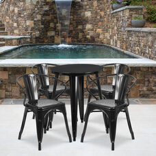 "Commercial Grade 24"" Round Black Metal Indoor-Outdoor Table Set with 4 Arm Chairs"