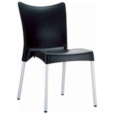 Juliette Outdoor Resin Stackable Dining Chair with Aluminum Legs - Black