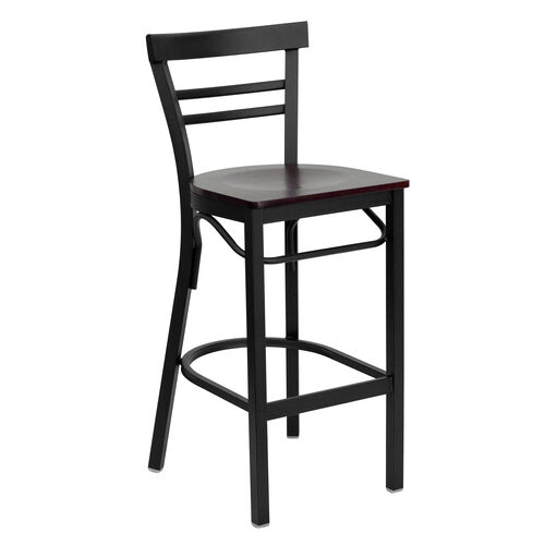 Our HERCULES Series Black Two-Slat Ladder Back Metal Restaurant Barstool - Mahogany Wood Seat is on sale now.