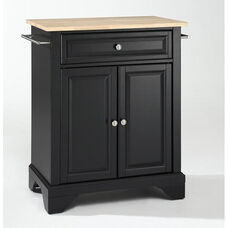 Natural Wood Top Portable Kitchen Island with Lafayette Feet - Maple and Black Finish