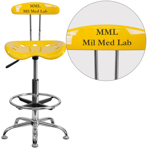 Our Personalized Vibrant Orange-Yellow and Chrome Drafting Stool with Tractor Seat is on sale now.